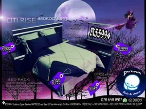 SPECIAL OFFER: Citi Rise BED KIT -fits DOUBLE and QUEEN Beds: Headboard +2 Pedestals + Dressing Table R2899