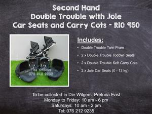 Second Hand Double Trouble with Joie Car Seats and Carry Cots