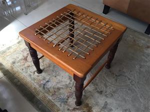 Traditional Yellowwood and Blackwood Riempie Stool / Chair
