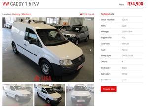 2008 VW Caddy panel van CADDY 1.6i (81KW) F/C P/V