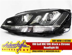 VW Golf MK7 DRL Black and Chrome Headlight Kit - sold as a pair Volkwagen GTI etc