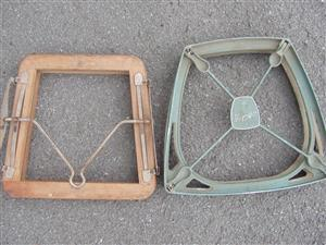 Vintage Tennis racquet head presses - x 2 one wooden and one alliminium