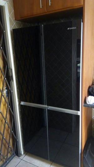 Sansui Black mirror double door fridge