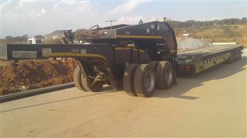 Used 2013 Afrit 4 Axle Straight Deck 75 Ton Lowbed with Tandem Axle Dolly for sale