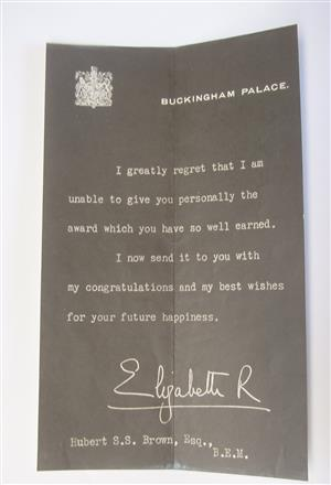 Old Letter from Buckingham Palace - Hubert S S Brown Esq.