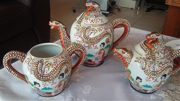 Antique 22-piece Japanese Satsuma Dragon Porcelain  Tea Set - excellent condition