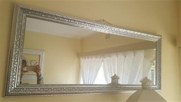 Large silver framed mirror