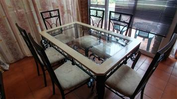 6 seat family dining table with chairs