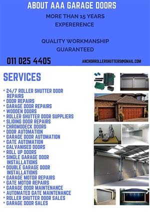 We service , install and repair on all roller shutter doors and garages, motors etc