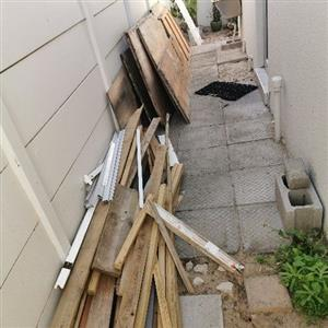 wooden doors, gumpoles, roof sheets, pine beams, window frames