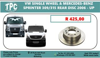 VW Crafter Single Wheel and Mercedes-Benz Sprinter 309/315 Rear Disc 2006 - up
