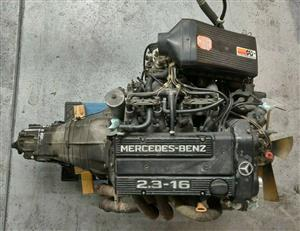 1986 W201 MERCEDES 190E 2.3-16 ENGINE MOTOR AND TRANSMISSION