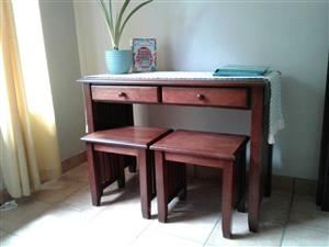 DESK / SERVER and 2 x SIDE TABLES / CHAIRS. SOLID WOOD Mahogany colour. Stunning set