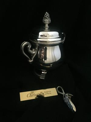 Christofle Silver Plated Sugar Bowl with lid and scoop.  Style:  Malmaison