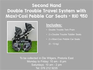 Second Hand Double Trouble Travel System with  Maxi-Cosi Pebble Car Seats
