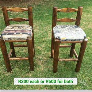 2 Wooden bar chairs for sale