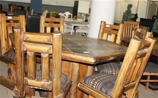 7 piece brown dining room suite S030747A #Rosettenvillepawnshop