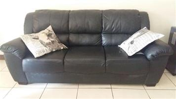 3 Seater black leather couch for sale