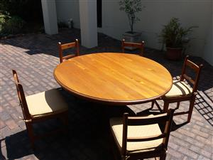 Yellow Wood dining table and chairs