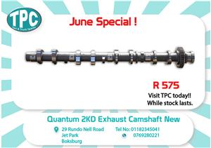 Toyota Quantum 2KD Exhaust Camshaft New for Sale at TPC