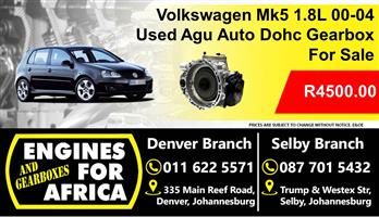 Used Vw Mk5 1.8L Dohc Turbo Agu 00-04 Gearbox For Sale