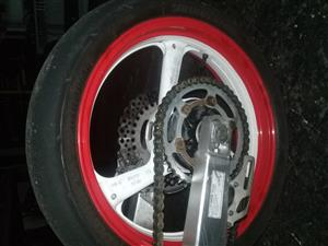 Front and Rear rims with brake disks and sprockets/ tyres fits Yamaha TZR250 Honda CRF 450 R (Super Motard conversion)
