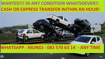 "URGENT!!! - We buy cars and bakkies ""DEADor ALIVE""  - We come to you and pay spot cash!"