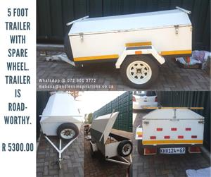 5 FOOT TRAILER WITH SPARE WHEEL