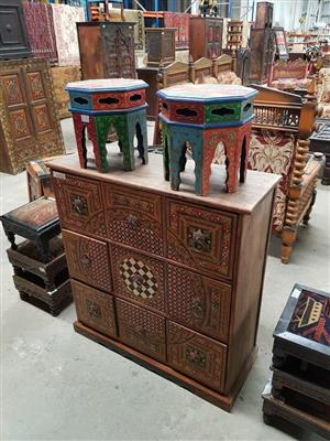 Chinese chairs and 9 drawer stand