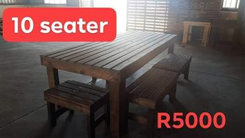 10 Seater pallet bench patio set