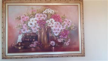 Cosmos oil painting by Madelyn van Niekerk