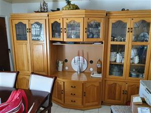Dining room Suite - 8 Seater and Solid Oak Display Unit 3 Piece
