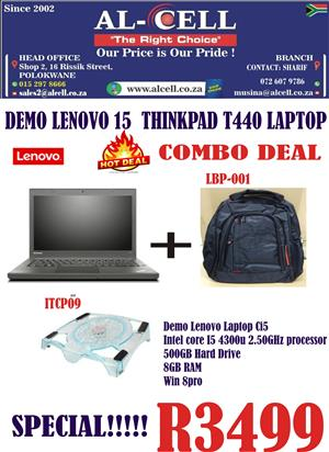 """Combo Deal"" For Demo Lenovo I5 T440 Laptop With Laptop BackPack and Cooling Pad"