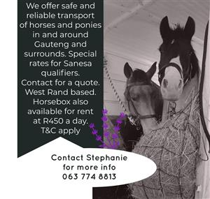 Transport services and horse box rental