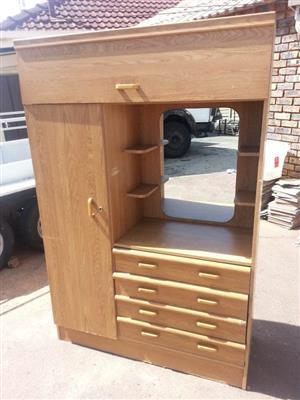 Light wooden 2 door shelf closet with 4 drawers