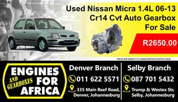 Used Nissan Micra 1.4L 06-13 Cr14 Cvt Auto Gearbox For Sale