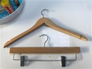 wooden hangers plain and clip on