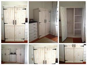 Wardrobe Farmhouse series 1050 2 door White washed distressed