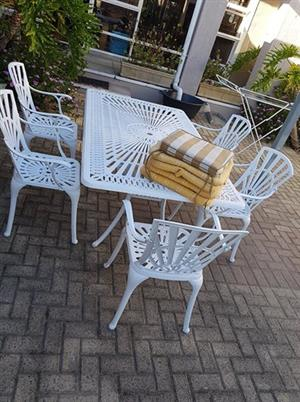 6 Seater Table Aluminium Patio set plus cushions and 5 armed chairs for sale