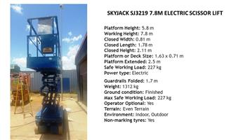 Cherry Pickers - Total Access Hire - Skyjack SJ 3219 7.8M electric scissor lift