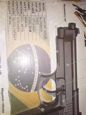 KWC PT92 Airsoft Gun Fully Auto Complete Service done have slip in box as proof and guarantee.