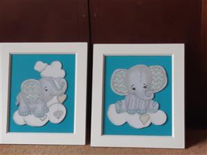 2 framed elephant paintings