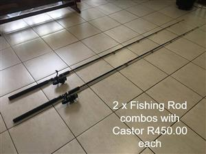 2 Fishing rod combo's with castor