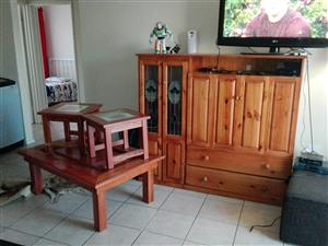 Old TV cabinet and coffee table set