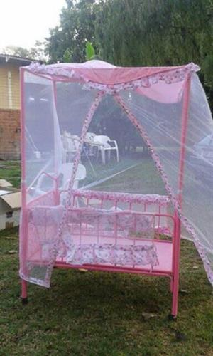 Pink baby cot for sale