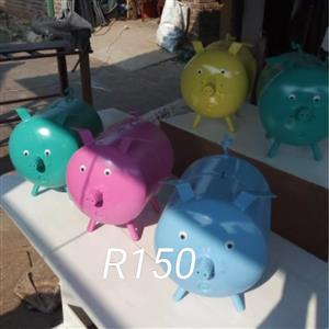 Various colored piggy banks