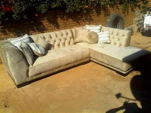 Custom made Charcole & Beige Diamond Buttoned Couch.