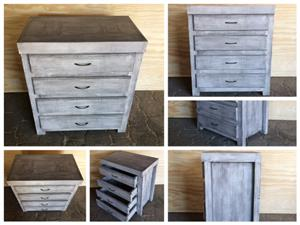 Chest of drawers Farmhouse series 0800 with 4 drawers - Greywashed