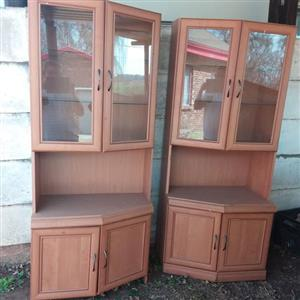 2 x Display cabinets with glass shelves