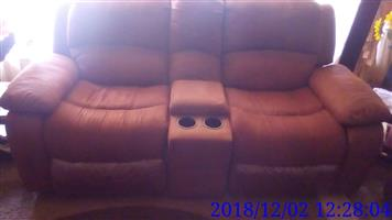 5 Recliner 6 seater suede brown lounge suite